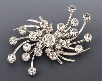 Vintage Silver & Faux Diamond Swirl Spiral 1930s Look Costume Jewelry Pin