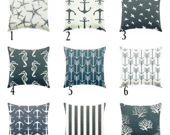 Pillow covers, Navy blue pillows , beach pillows , navy nautical pillows , navy and white pillows , navy euro sham , lumbar