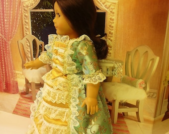 Colonial Ball Gown with Cap and Bloomers fits American Girl Doll Felicity