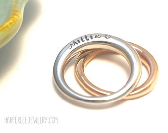 Personalized Stainless Steel Offset Ring ~ Silver ~ Rose Gold ~ Custom Jewelry ~ Stacking Ring ~ Anniversary ~ Mother ~ Mom ~ Mommy Gift