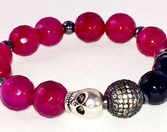 Garnet colored Agate bracelet, Black Onyx bracelet, Skull Bead, Rhodium plated Micro Pave' CZ bracelet