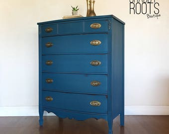 SOLD- Indigo royal blue tall dresser. Vintage antiqur bow front bedroom dresser. San Francisco, Bay Area