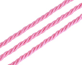 RUBTEX415RO601...  Wire/cord of artificial silk twisted - 4.5 mm - pink - 50 cm