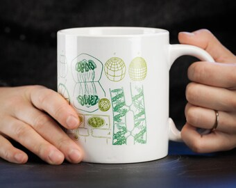 Cell Biology Mega Mug   Ceramic Coffee Jumbo Mug, Mitosis, Large 20oz mug, Scientific Illustration Microbiology, Biologist Gift Teacher Gift