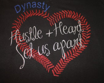 Hustle and Heart Baseball Shirt, Baseball Mom Shirt, Baseball Mom, Womens Baseball Shirt, Funny Baseball Shirt, Sports Mom, Baseball Love