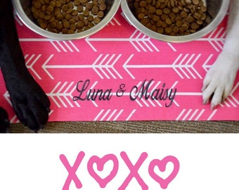 Personalized Pink Pet Placemat | Arrows Water Resistant Food + Water Bowl Mat
