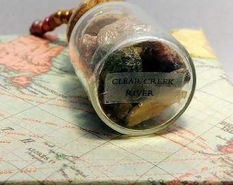 Clear Creek River Rock Bottle Pendant Necklace