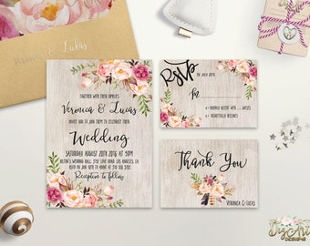 Floral Wedding Invitation Printable Rustic Wedding Invitation Suite Boho Wedding Invitation Set Blush Pink Peony Wedding, Digital or Printed