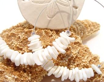 White Coral Chip Hoop Earrings