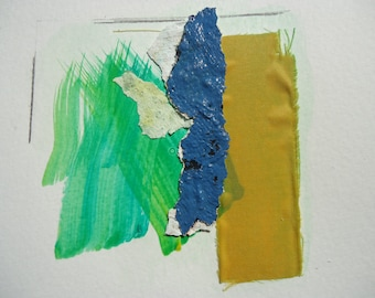 """Small Painting- Collage 6 -mixedmedia-material-abstract-informal.Size 7.8 """"x7.8"""