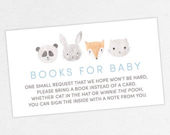 INSTANT DOWNLOAD Books for Baby Card, Baby Shower Books for Baby, Books for Baby PDF, Diy, Woodlands, Fox, Animals, Bunny, Panda, Cat, Gray