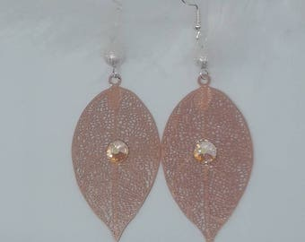 Copper with Swarovski rhinestone leaf earrings