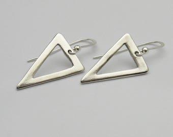 Handmade Silver Triangle Earrings, Silver Geometric Earrings, Silver Minimalist Earrings, Lightweight Earrings, Drop, Dangle, Casual Earring