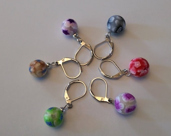 Polymer clay Millefiori  Ball Stitch Markers for Knit Crochet - Mixed Set