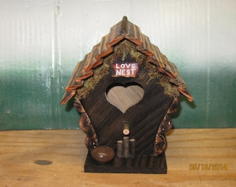 Rustic Love Nest Birdhouse Hand Made From Reclaimed Wood