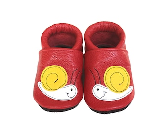 Leather Baby Booties, Baby Shoes, Snail Shoes, Infant Newborn Nursery Children, Yellow, Red
