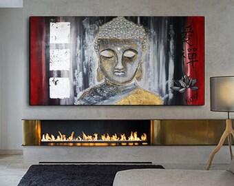 FREE SHIPPING BUDDHA Painting Zen Art Meditation, Large Wall Art, Original Painting on Canvas, Buddha Decor, Yoga Illustration, Buddha Decal
