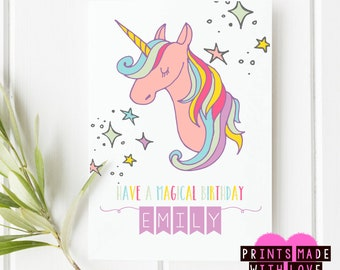 Unicorn personalised birthday card A5 / magical birthday / personalized