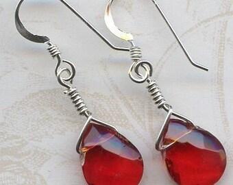 Red Teardrop Sterling Silver Earrings
