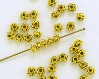 Pewter Oxidized Gold Plated Bali Style Granulated Spacer Beads 4mm - 50
