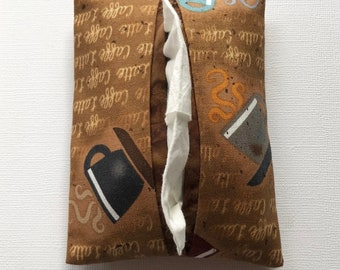 Fabric Tissue Holder- Coffee Fabric- Coffee Lover- Pocket Tissue Holder- Tissue Case- Travel Tissue Holder- Handmade- Tissue Packet Cover