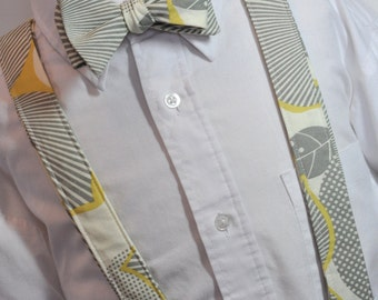 Mens Suspenders and Bowtie Set Grey Graphic Blossom