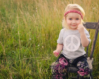 Bohemian Babies flannel peace sign tee - Sizes 1 1/2 yr. to 8 yr. - 5 different color options - Unisex peace sign shirt