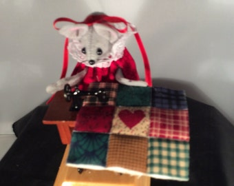Felt Mouse with a Treadle Sewing Machine. NEW LOWER PRICE