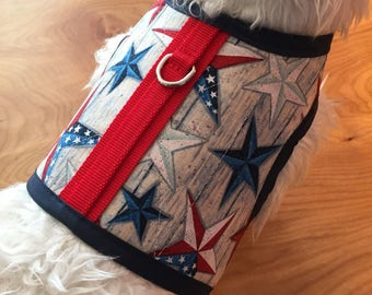 Americana vintage stars Small Dog Harness Made in USA, dog harness, dog harnesses