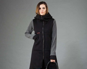 Women's Hoodie, Cotton Coat with Knit Sleeves, Hooded Coat, Warm Hoodie, Handmade, Black and Gray Hoodie,Clothes Navaho,Handmade by Navaho
