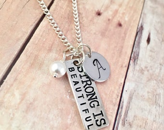 Fitness charm necklace, cancer charm necklace, workout,  fight cancer, gift for her, Yoga, Kickboxing, cross fit, weightlifting, Mothers day