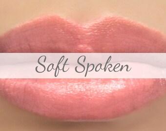 "Vegan Lipstick Sample - ""Soft Spoken"" peach pink - natural makeup"