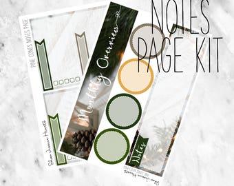 Pine Cones December Notes Page Kit / Fits Erin Condren Vertical Life Planner