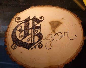 Wood burning name plaque