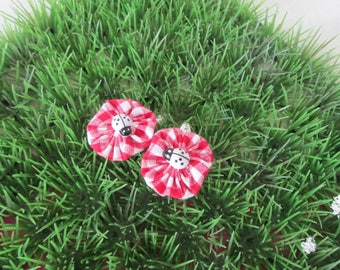 """Hair clips """"clic clac"""" flower red gingham"""
