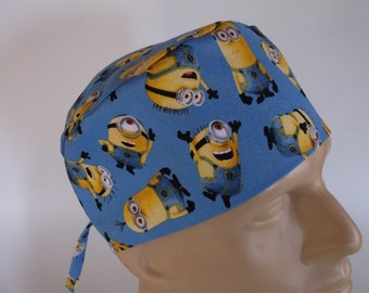 One in a Minion -  Men's Surgical Scrub Hat  with sweatband option, scrub cap, bakers hat,112+4370