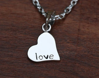 Heart Shape Charm Necklace, Sterling Silver Love Pendant, Silver Charm, Heart Jewellery, Silver Heart, Fashion Jewelry, 18 Inch Cable Chain