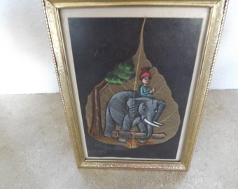 Unique Framed Hand Painted Leaf India Elephant