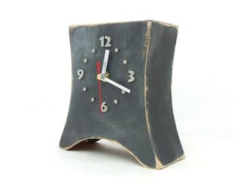 Table clock Grey, Wood Desk Clock, Gray Silver clock, Unique Wooden gift, Distressed Mantel clock, Gray home decor, Summer decor for home