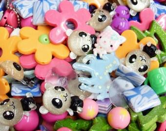 100 pcs B GRADE Cute Destash Flowers Bows Pandas Cats