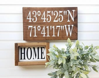 Coordinates Sign - Farmhouse Decor - GPS Sign - Farmhouse Sign - Wedding Gift - Anniversary Gift - Gift Idea - Custom Sign - FREE SHIPPING
