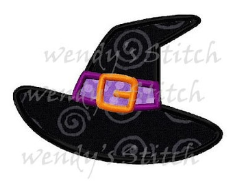 Halloween witch hat applique machine embroidery design