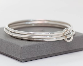 Sterling Silver Bangle Set|Sterling Silver Bangles|Sterling Silver Bangle Set of 3|Plain Silver Bangle Set|Handmade Bangles|Gift for Her