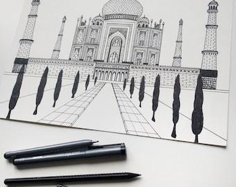 Drawing in Ink Taj Mahal