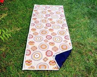 Yoga mat in colorful fabric. Mandalas and circles.