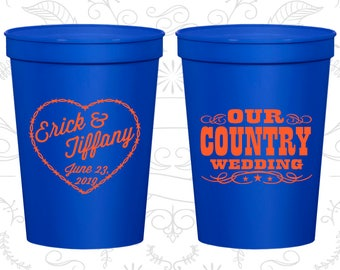 Our Country Wedding, Imprinted Plastic Cups, Country Rustic Cups, Rustic Wedding Cups, Barbwire, stadium cups (84)