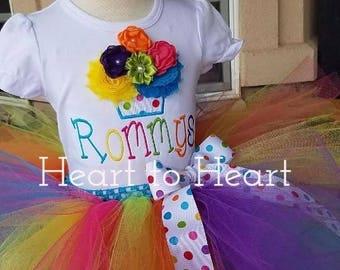 Birthday tutu outfit set, Confetti tutu, Rainobow tutu, Rainbow tutu outfit set, Birthday girl, tutu, tutu dress, cupcake tutu outfit set