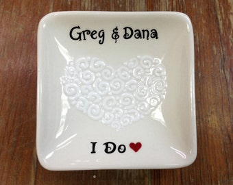 Personalized Hand Painted Ceramic Ring Dish, ring holder- Engagement gift, Wedding, Anniversary gift