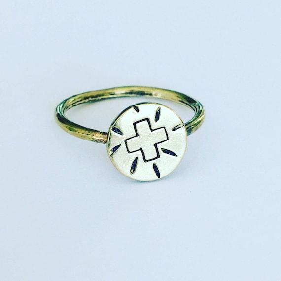 Positive Vibes Raw Brass Ring - Positivity - Geometric - Boho - Festival - Shamanic - Self Love - Healing - Gold - Tribal
