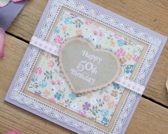 Lilac 50th Birthday Card - Country Garden Vintage Scrapbook Style